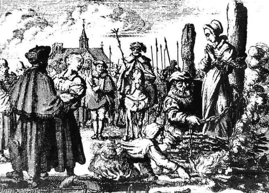 Hekseafbrænding ca. 1544. Kobberstik fra perioden.